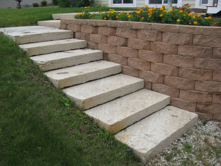 If your yard slopes,this is the perfect solution; a block retaining wall and stairs.