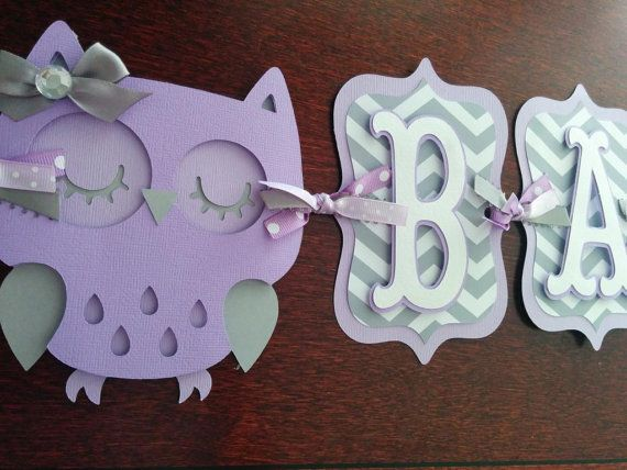 owl baby shower banner itu0027s a girl banner baby banner baby shower decorations purple and gray banner owl decorations lavender
