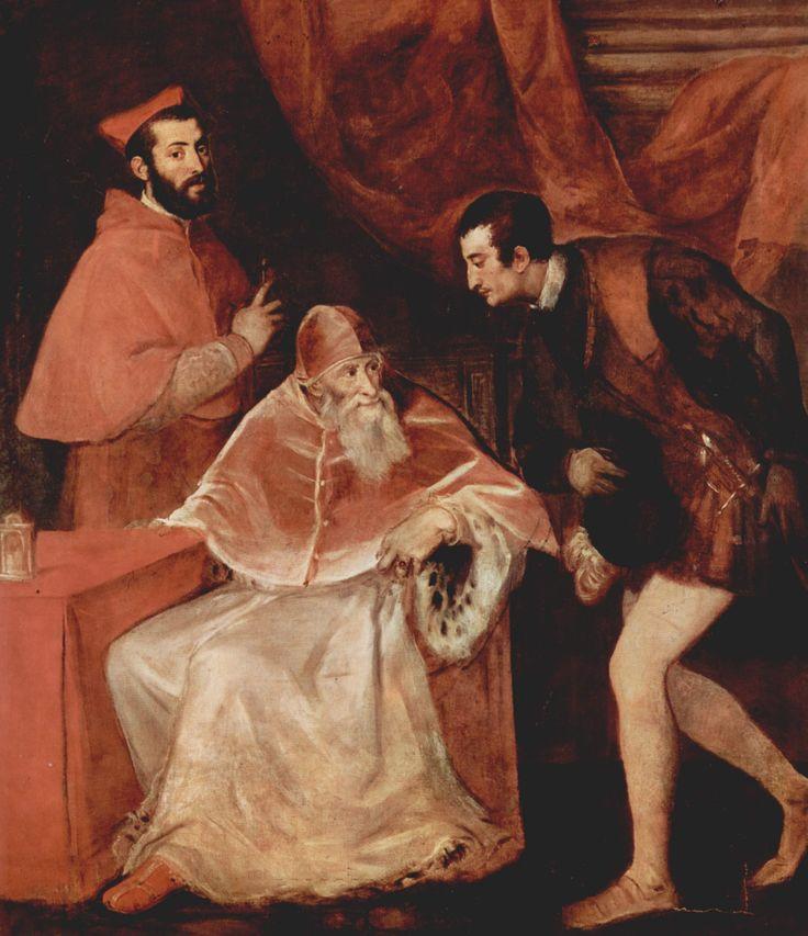Tiziano, Pope Paul III and His Grandsons, 1546, oil on canvas, 200 x 173 cm, Napoli, Museo Nazionale di Capodimonte.