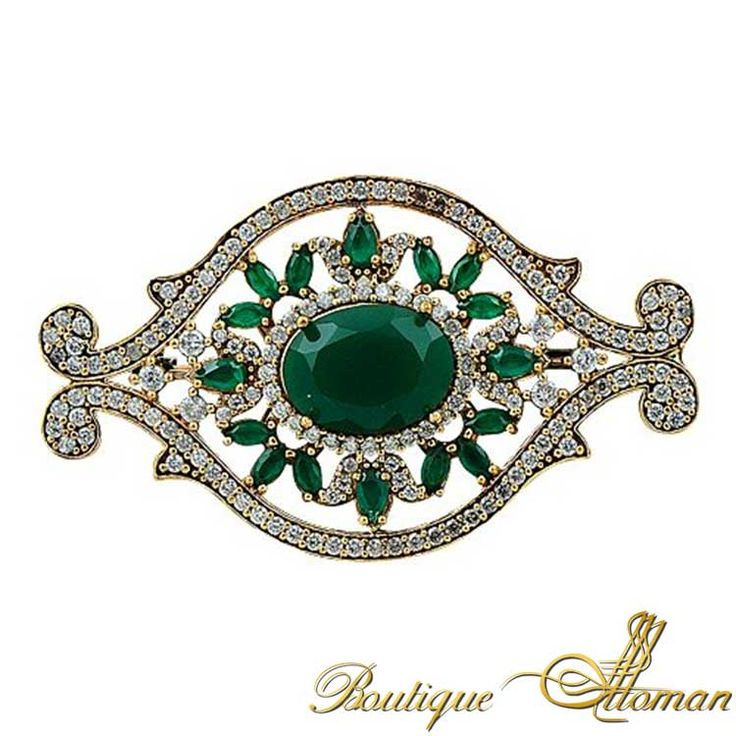Emerald Eye Silver Brooch - Ottoman Silver Jewelry #brooch #brooches #silverbrooches #jewelry #clothesjewelry