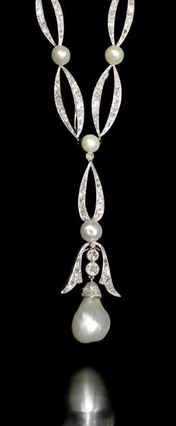 A natural pearl and diamond necklace, circa 1915 The chain of graduating old brilliant, single and rose-cut diamond elliptical links, alternating with single bouton pearls, suspending at the front a detachable stylised bell-shaped pendant of similarly cut diamonds, terminating in a large baroque pearl drop, mounted in platinum and white gold, four diamonds have been replaced with colourless paste, French maker's mark