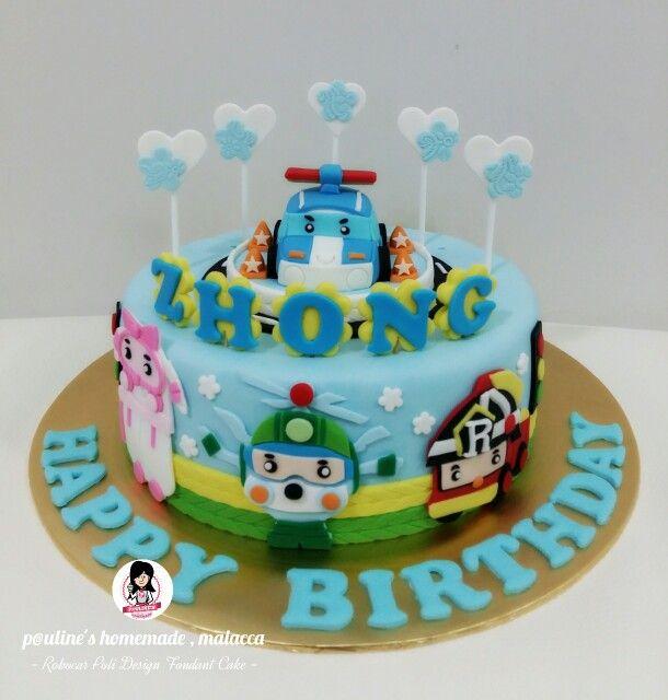 Robocar Poli Design Fondant Cake