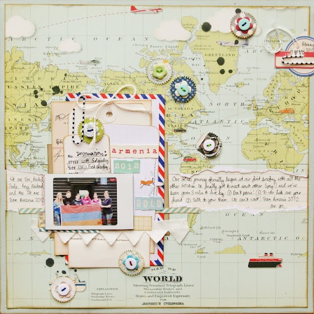 love the layering and the travel theme! (by Miss Smith)