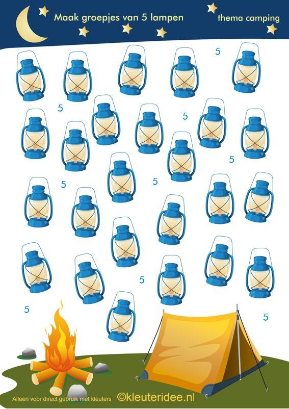 Maak groepjes van 5, kamperen voor kleuters , thema camping, kleuteridee.nl, Make groups of 5, camping theme, free printable.