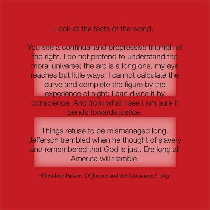Theodore Parker  1810-1860  American abolishionist and trancendentalist