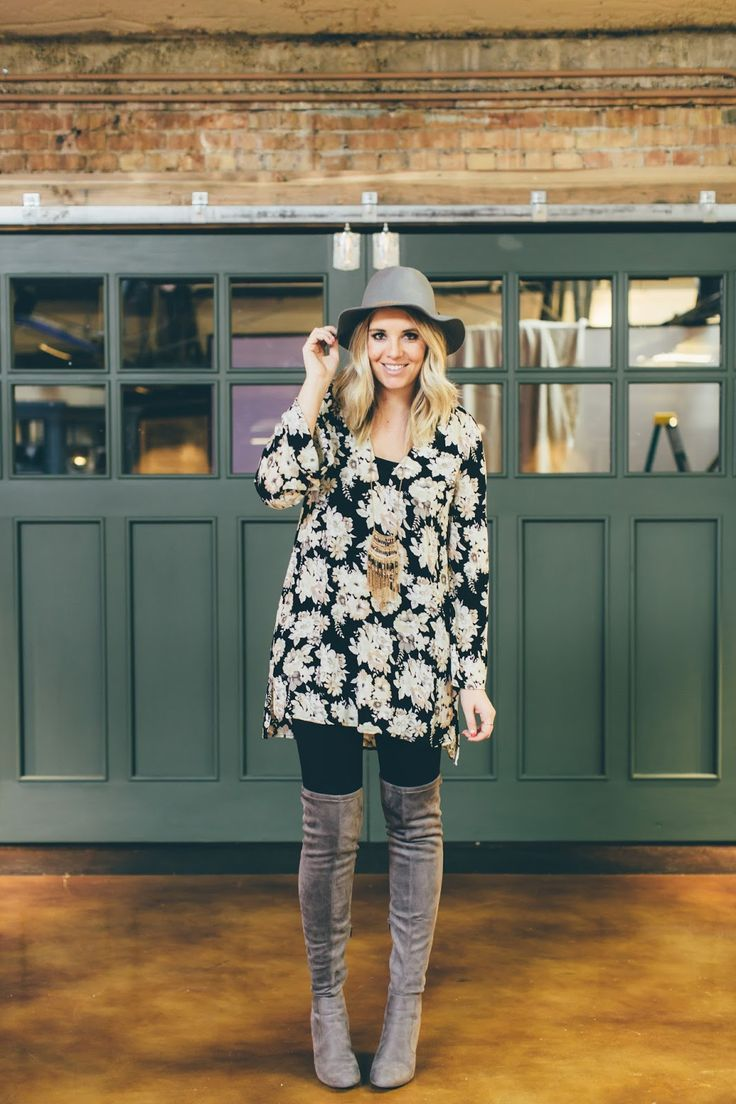 Floral tunic and thigh high boots. The perfect postpartum outfit. Outfit from…