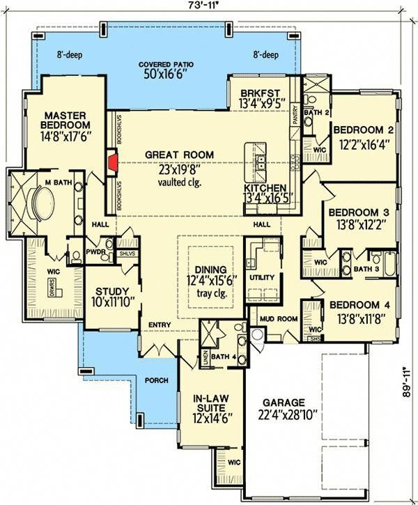 Plan 31185D 4 Bedroom Modern with In-Law Suite Modern home design