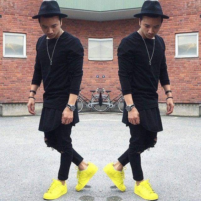 All Black Street Fashion , Yellow Superstars #mensfashion