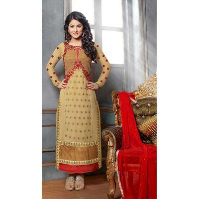 Buy Fabfiza Akshara Beige Georgette Embroidered Designer Straight Suit by fabfiza, on Paytm, Price: Rs.2054?utm_medium=pintrest