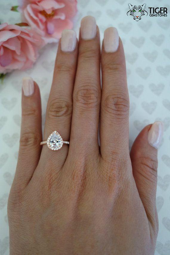 1.5 Carat Pear Ring ROSE Halo Engagement Ring by TigerGemstones