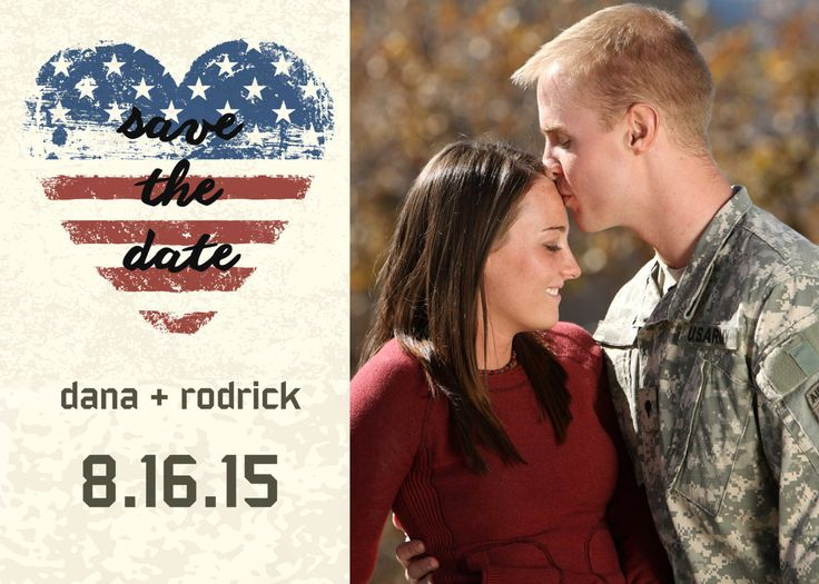 patriotic military save the date with american flag heart