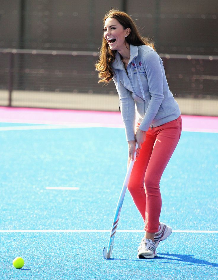 The Duchess of Cambridge plays hockey with the GB hockey teams at the Riverside Arena in the Olympic Park.