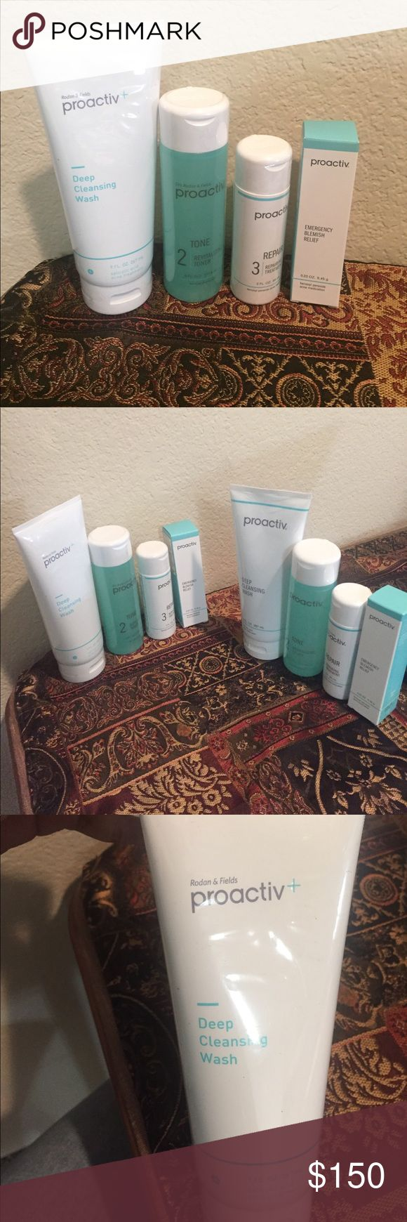 Proactiv Acne treatment - UNOPENED 2 sets of Proactiv Acne treatment kit products that are unopened  Each set has 1) Deep Cleansing Wash, 267ml 2) Revitalizing Toner, 177.4ml 3) Repairing Treatment Moisturizer, 89ml 4) Emergency Blemish Relief, 9.45g  This set is extremely effective to control Acne and has helped my skin a lot. I am selling these 2 sets as I have to move and don't want to carry it with me. Set 1 expiry - Nov2018 Set2 expiry - May2019 I am willing to sell individual products…