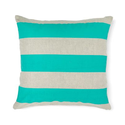 Wide Stripe Cushion in Jade 50cm
