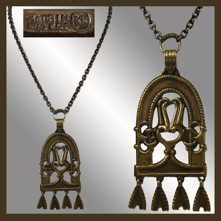 """This is a bronze pendant necklace made in Finland by Kalevala Koru. This pendant necklace is based on a historical piece. It is marked with capital letters KK on the backside as well as with """"Made in"""