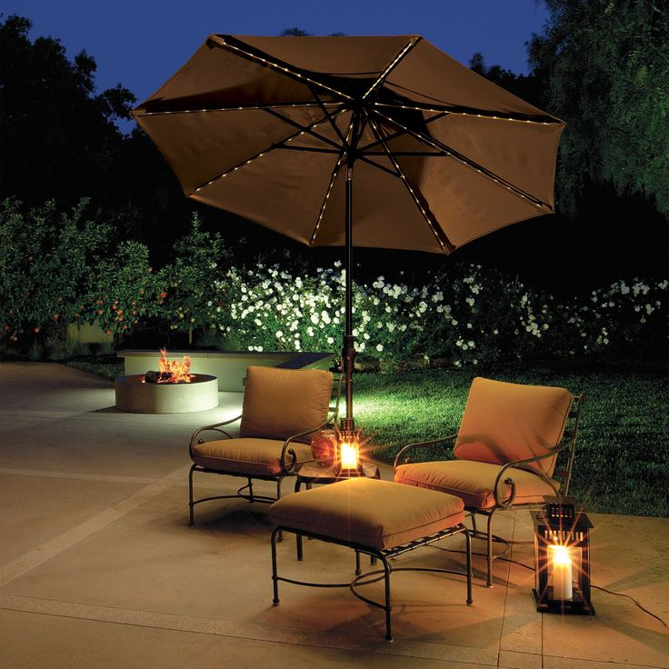 Collar Tilt Lighted Patio Umbrella | From Hayneedle.com