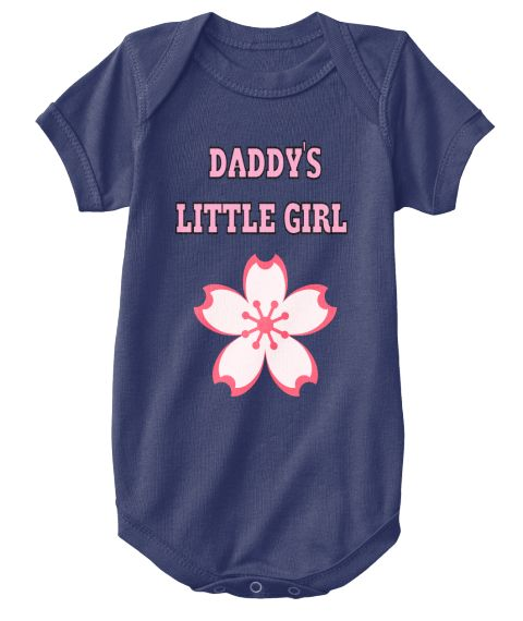 Daddy's   Little Girl Navy  T-Shirt Front