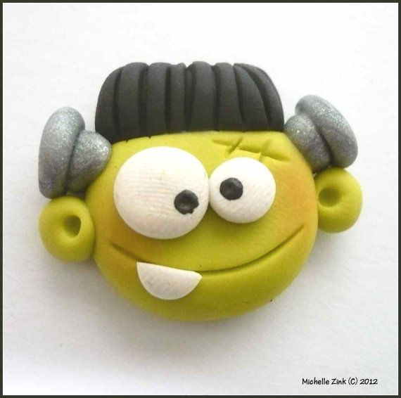 Polymer Clay Bead or Bow Center Frankenstein Face