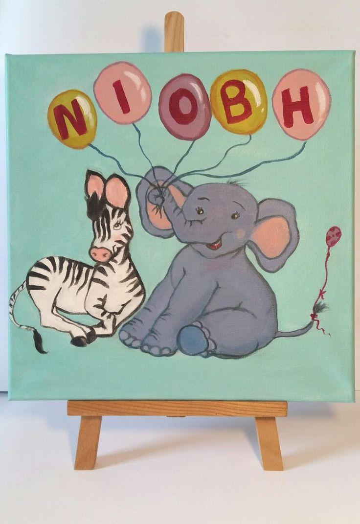 Elephant nursery art-kids wall art-personalized baby girl gift-Nursery decor-Elephant art for kids room-Boy's nursery art-zebra by Kathyspaintground on Etsy