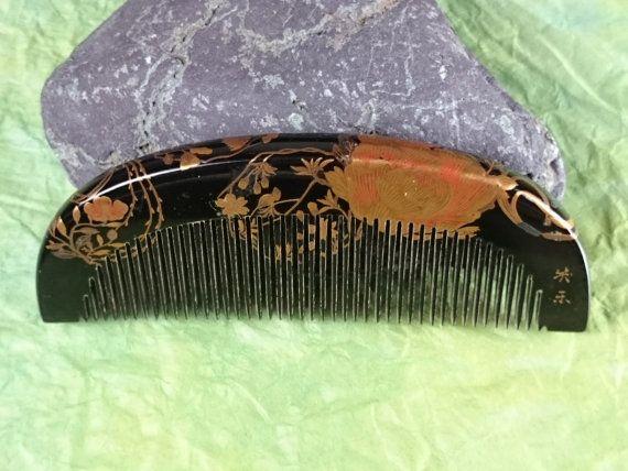 "Vintage Hair comb ""Kushi"" signature ""笑示"" /   Geisha hair combo  /Japanese vintage / Japonism  / Japón"