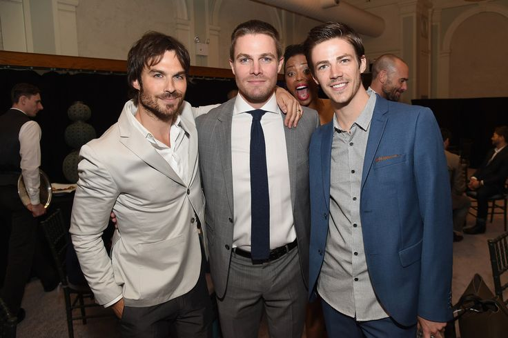 Ian Somerhalder, Stephen Amell, and Grant Gustin the hot men of the CW May 15, 2015