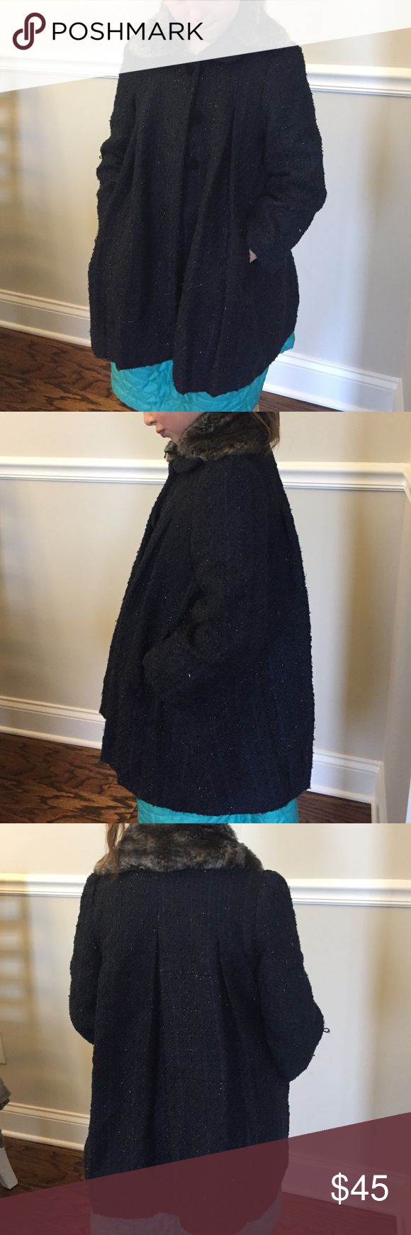 Monsoon girls navy sparkly coat Navy sparkly coat with pleats and removable fur collar. Super adorable, kinda has a swing feel.  Fully lined in satin. Size 7/8 Monsoon brand. Monsoon Jackets & Coats Pea Coats