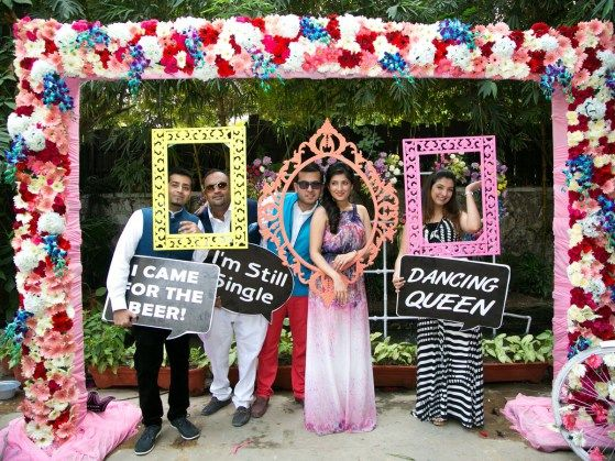 beautiful outdoor pre wedding brunch of priyanka and digant in delhi india