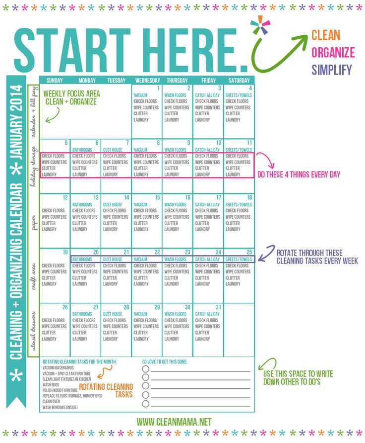 """Cleaning Schedule. I Need To Work On The """"everyday"""" Part"""
