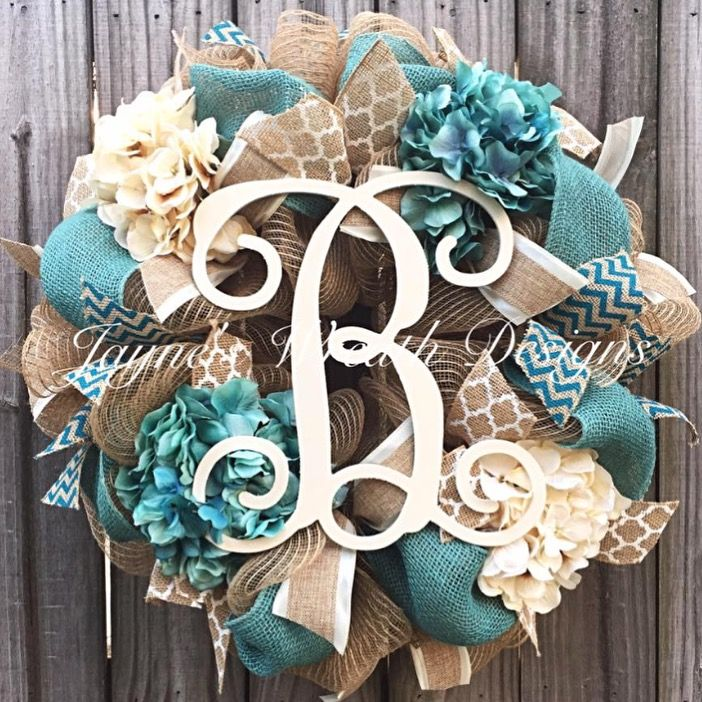 Burlap Wreath with Ivory & Turquoise Hydrangeas and Vine Script Letter. Great all year Wreath. By Jayne's Wreath Designs on fb and Instagram