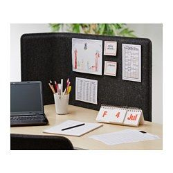 "IKEA - BEKANT, Screen for desk, 47 1/4 "", , The screen creates a quiet and pleasant working environment by providing privacy and absorbing sound.Holds pins and serves as a noticeboard.Stands freely on the floor and does not need to be attached to a table top."