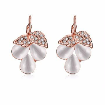 Simple Women Earrings Alloy Opal Leaves Rhinestone Flower Earrings