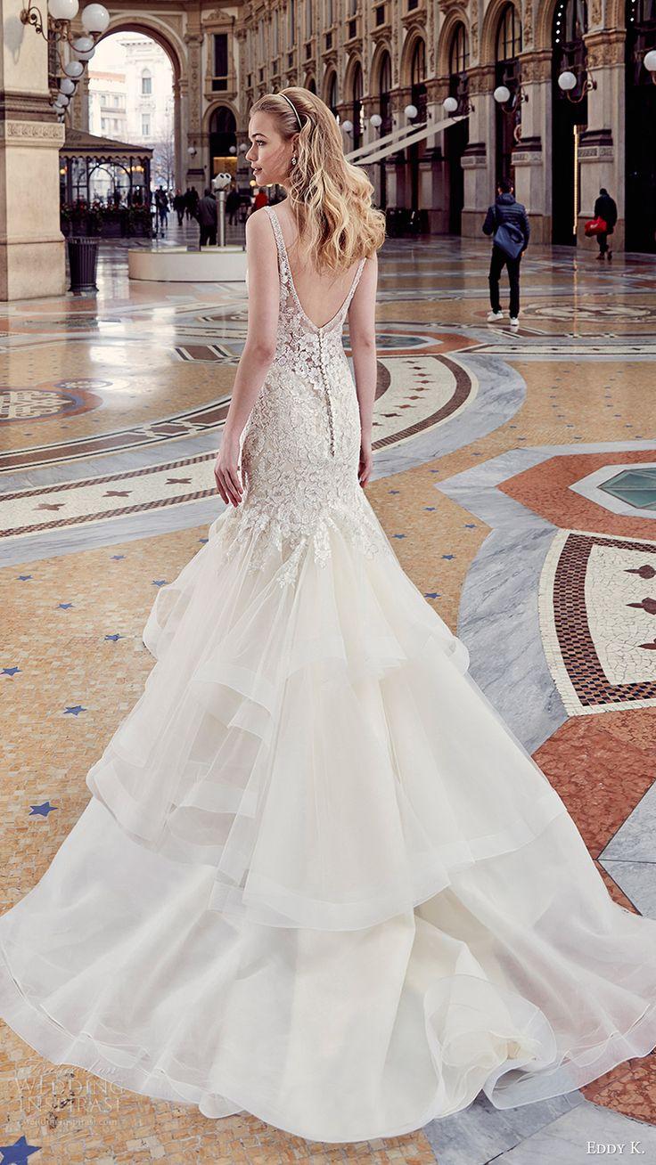 eddy k milano bridal 2017 sleeveless vneck embellished bodice horsehair skirt mermaid wedding dress (md195) bv