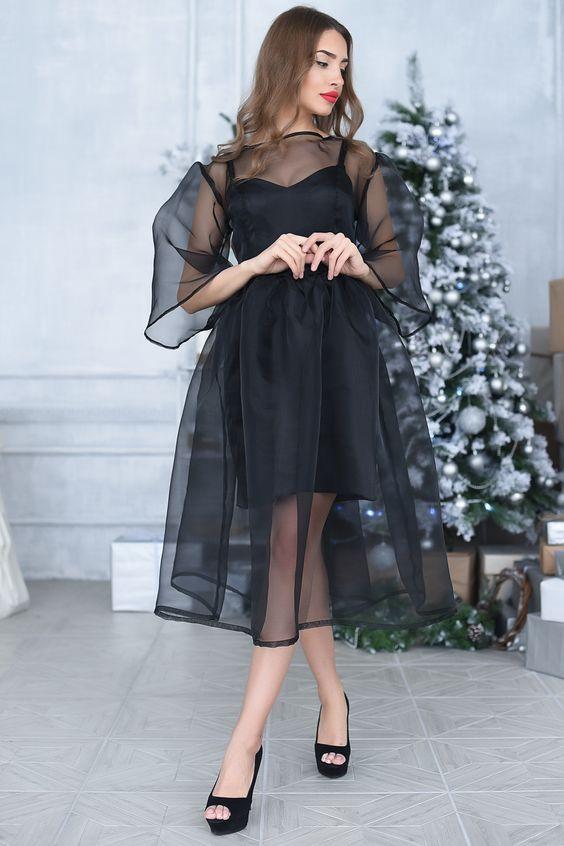 Look! Коктейльные платья с элементами из полупрозрачной органзы! 4