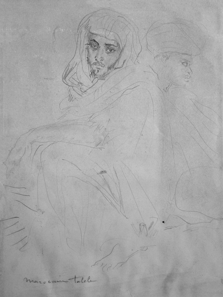 CHASSERIAU Théodore,1846 - Deux Arabes assis - drawing - Détail 16