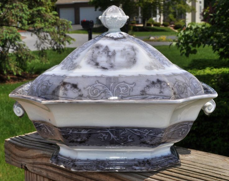 Antique Staffordshire Flow Mulberry Ironstone Covered Bowl Rhone Scenery Mayer | Antiques, Decorative Arts, Ceramics & Porcelain | eBay!