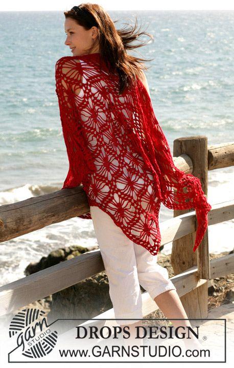 "Pretty Spiderweb-looking (sort of) shawl pattern! DROPS virkad sjal i ""Cotton Viscose"" ~ DROPS Design"