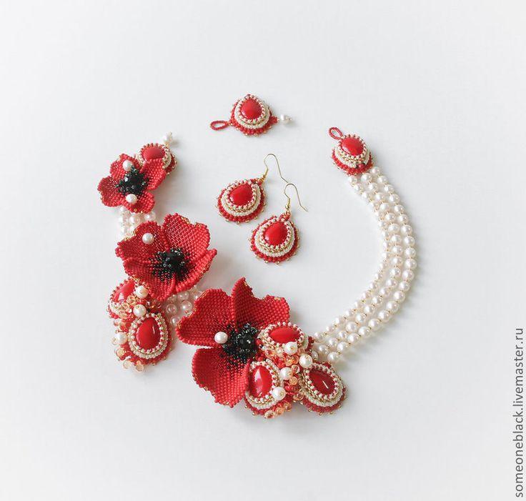 Красные маки - ярко-красный,белый,колье,свадьба,бисер,коралл,жемчуг,японский и чешский бисер