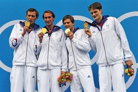 GOLD! Amaury Leveaux, Fabien Gilot, Clément Lefert et Yannick Agnel : 4x100m Swimming