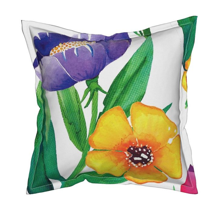 Serama Throw Pillow featuring Wildflower Garden by jessmorris | Roostery Home Decor