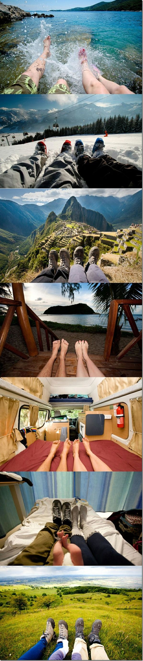 I already do this, so this wouldn't be so hard- this couple takes pictures of their feet everywhere they travel. i want to do this with my boyfriend/husband sometime in my life, so cool!
