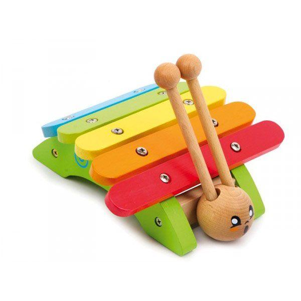 ce xylophone escargot rigolo en bois avec ses 5 lames invite des jeux sonores