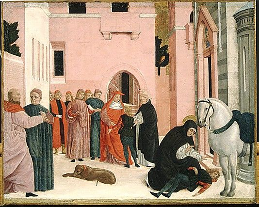 Saint Dominic Resuscitating Napoleone Orsini. It shows Saint Dominic resuscitating the nephew of Cardinal Stefano di Fossa Nova, who had been killed in a fall from his horse. In the background, the saint presents the revived young man to his astonished uncle.