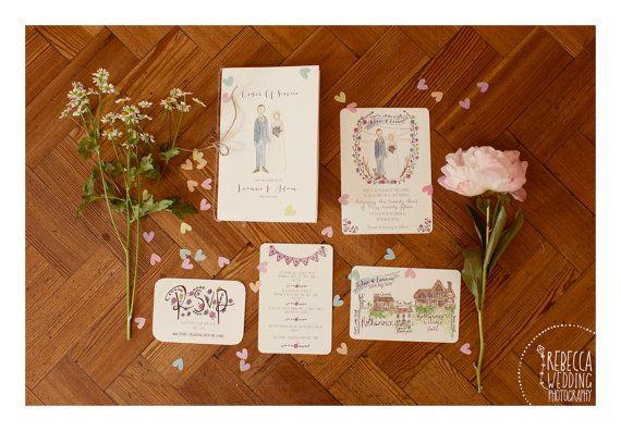 Custom Wedding Invitation Service // by littlemepaperco on Etsy. Photo by Rebecca Wedding Photography
