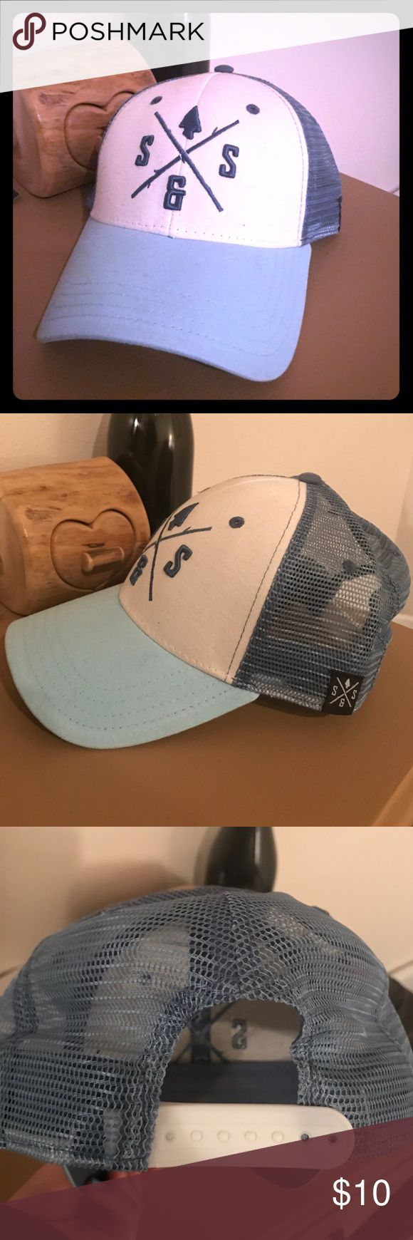 """Blue and White Trucker Cap Cute blue and white """"Stix & Stones"""" adjustable trucker cap. Stix & Stones Accessories Hats"""