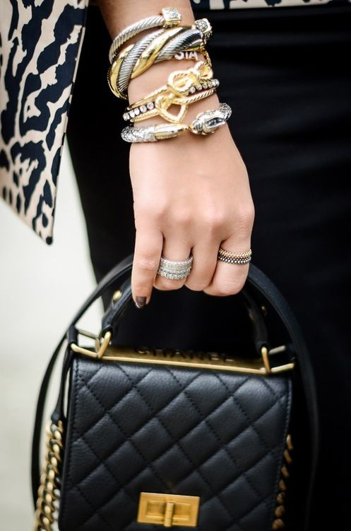 "♔ Bangle - Cuff - Bracelet - Chanel - ""Lo! Allah will cause those who believe and do good works to enter Gardens underneath which rivers flow, wherein they will be allowed armlets of gold, and pearls, and their raiment therein will be silk."" Surah Hac, 23"