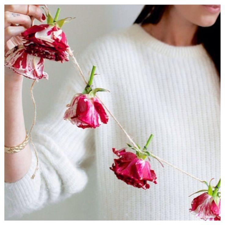 DIY floral garland - dried flowers