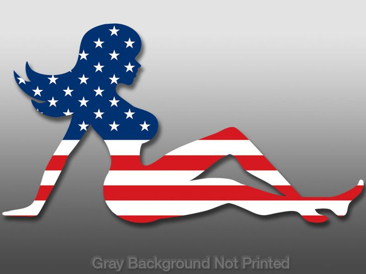gir;ls in american flags | mudflap girl american flag sticker size 3 high x 6 wide 76mm x 150mm ...