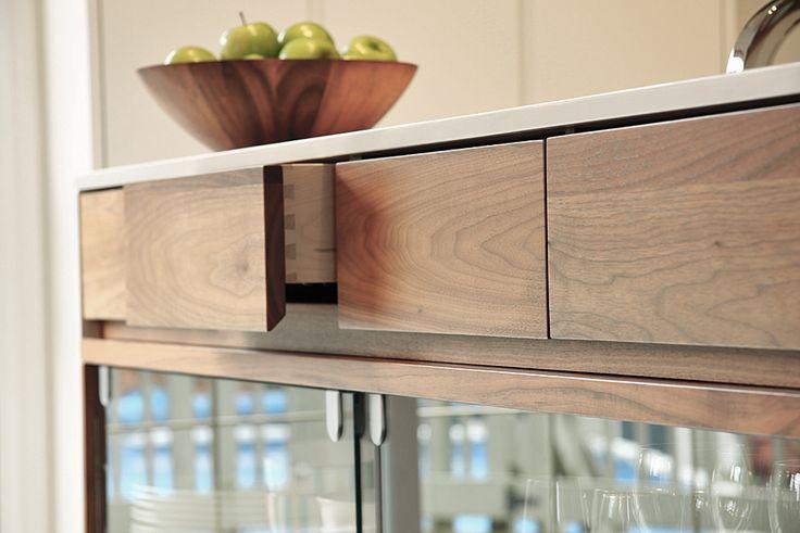 tiroirs, ilôt, cuisine contemporaine, bois et blanc
