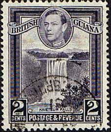 British Guiana 1938 King George VI SG 309 Kaieteur Falls Good Used SG 309 Scott 231b Perf 12 5 Other West Indies and British Commonwealth Stamps HERE!