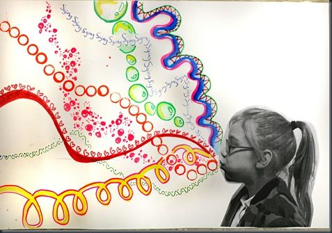 Whistling Lines with Overlapping using Paint, Stamps, Markers, Colored Pencils... rainbowswirls
